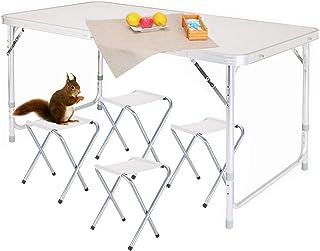 Nestling® Tragbare aluminium outdoor klapptisch camping tisch 1,2 Mt gartentisch picknicktisch klappbar, höhenverstellbar, grill 4FT (mit 4 hockern)
