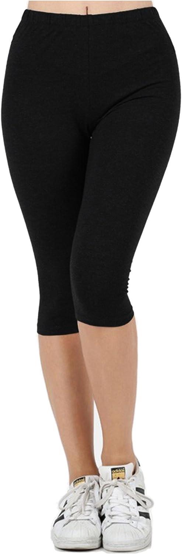 KOGMO Womens Premium Cotton Comfortable Stretch Capri Leggings 15in Inseam