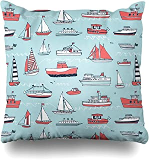 Ahawoso Throw Pillow Cover Nursery Boy Water Transport Line Pattern Launch Sailboat Baby Boat Child Cruise Design Wave Decorative Pillow Case 18x18 Inches Square Home Decor Pillowcase