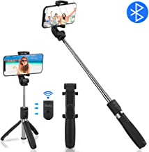 Abafia Selfie Stick Tripod, Wireless Selfie Stick Bluetooth with Detachable Remote, 360° Rotation Extendable Tripod Stand for iPhone X/XS/8/7, Samsung S8/7/6, Huawei P30/P20 and More(4.5''-6.5'')