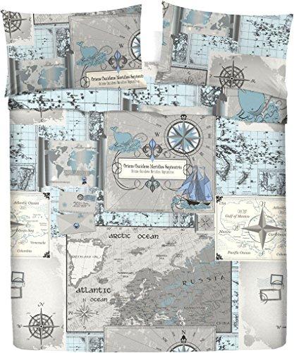 LARA MORADA Set Completo Letto Lenzuola 100% Cotone Stampato Disegno Mappa (Azzurro, Singolo 1P)