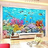 NIJP Papel Tapiz 3D Personalizado Personalizado paño de Seda Mural, Pescado 3D Coral bajo el Agua World Wall Pintura Sala de Estar Sala de Estar campeón de niños Papel de Pared Fresco-150 * 117cm