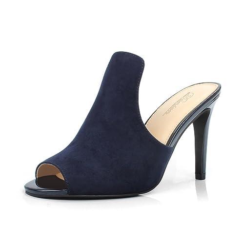 26eaf0d6f1b6 DUNION Women s Brody Comfortable Peep Toe Stiletto High Heel Dress Slip on  Mules