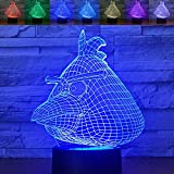 Abstractive 3D Angry Bird Optical Illusion Night Light 7 Color Change Touch Switch Acrylic Flat & ABS Base & USB Charger Home Decor Table Lamp for Holiday Birthday Gift