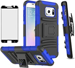 Phone Case for Samsung Galaxy S7 Edge with Tempered Glass Screen Protector Cover and Holster Belt Clip Hybrid Hard Rugged ...