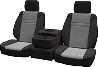 Front Seats: ShearComfort Custom Neoprene-Style Seat Covers for Ford F150 (2011-2014) in Charcoal w/Silver for 40/20/40 w/Folddown Opening Console and 3 Adjustable Headrests