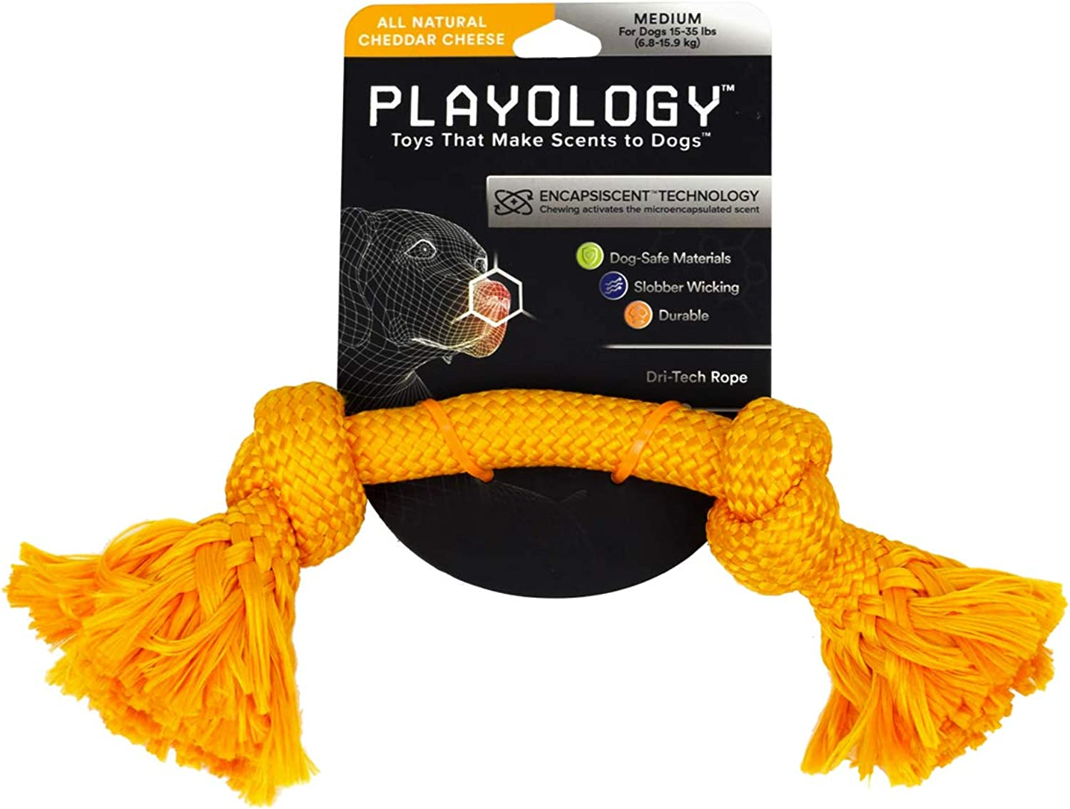 Playology DriTech Rope, a HealthEnhancing Cheddar Cheese Scented Chewable Dog Toy That Inspires Exercising Play, 12  Long Medium, in orange for Canines 1535 lb.