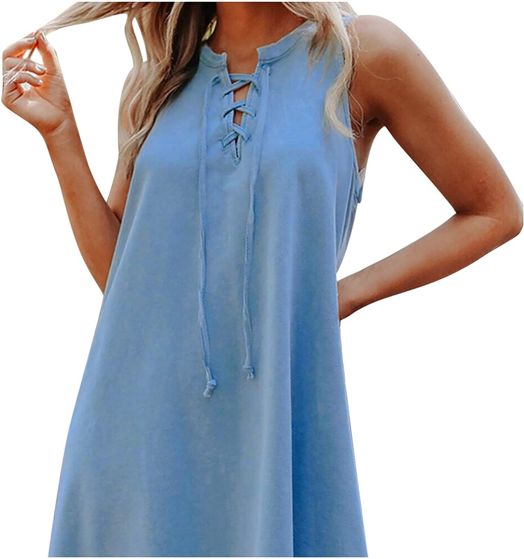 tuduoms Women's Solid Loose Short Sleeve Maxi Dresses, Solid Color O-Neck Denim Dress Casual Loose Oversized Vest Dress