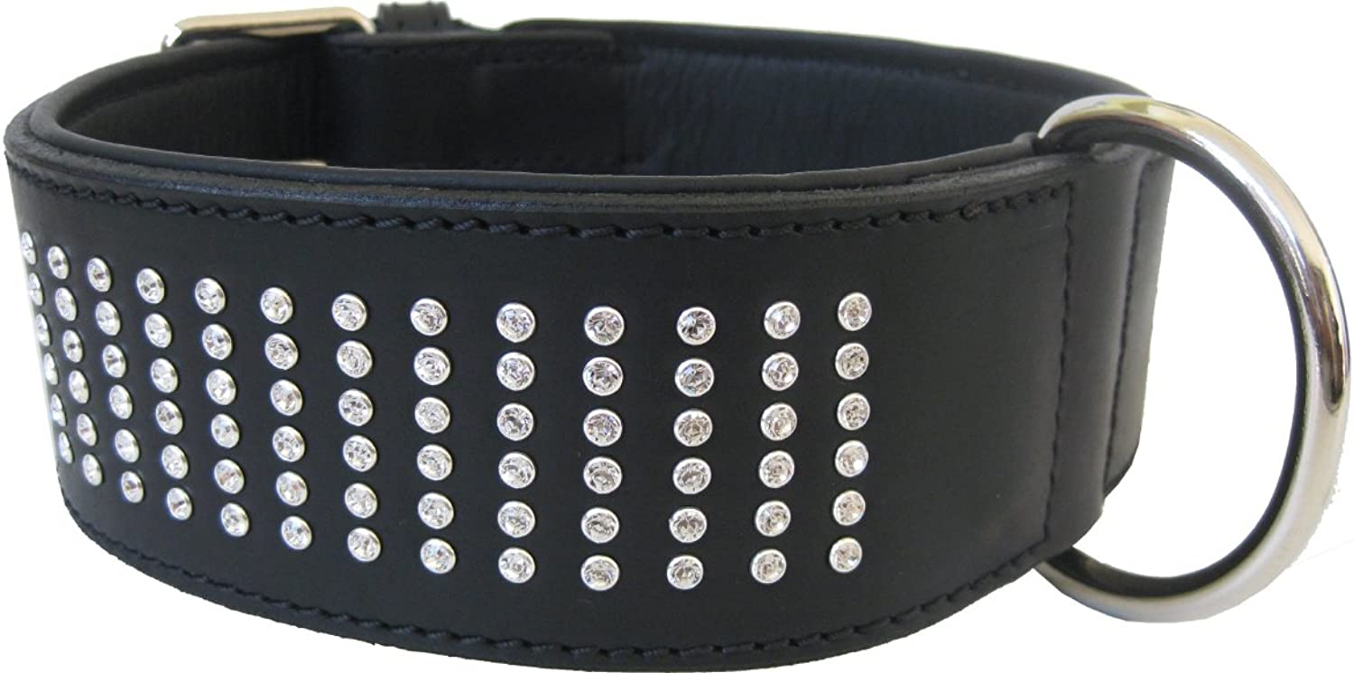 Dogs Stars De Luxe Leather Collar 6 Rows  144 Swarovski Crystals EyeCatcher for Large Dogs  6cm Wide