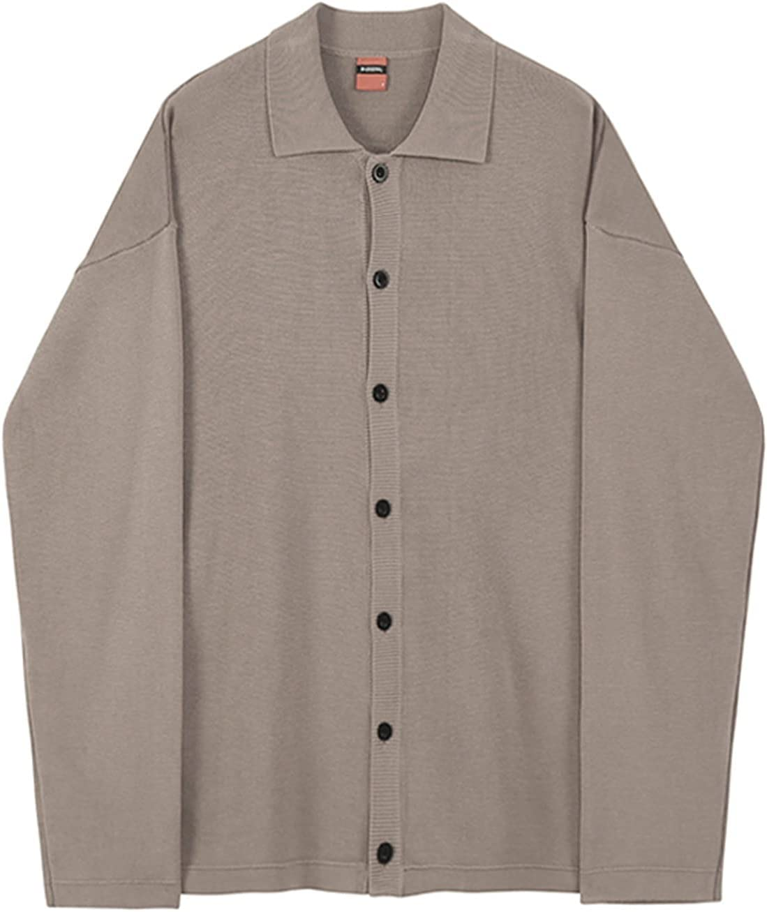 PAOMIAN Cardigan Sweater Men's Spring Autumn New Korean Fashion Single Breasted (Color : Brown, Size : XXL)