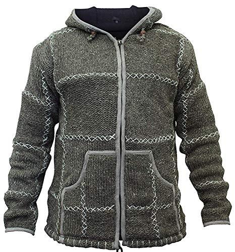 shopoholic fashion homme 100% laine tricoté HIPPIE pull à capuche veste fermeture éclair - Marron, Small