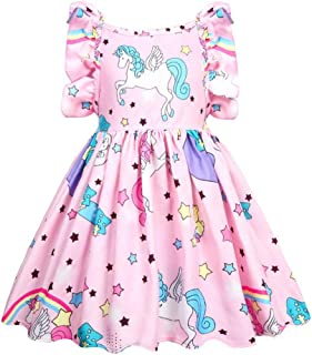 Áo quần dành cho bé gái – Girls Unicorn Dresses Summer Floral Short Sleeve Backless Dress School Birthday Dance Party 36004