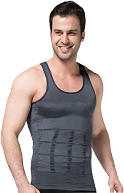Zerobodys Men's Shaper Slimming Sleeveless T-Shirt Elastic Body Sculpting Vest SS-M01 Grey (L)