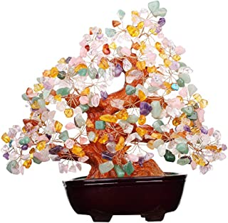 VOVOV Colorful Crystal Money Tree Feng Shui Natural Colorful Crystal Quartz Gem Stone Money Tree