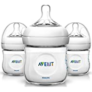 Philips AVENT Natural Baby Bottle, SCF010/37, Clear, 4 Ounce (Pack of 3)