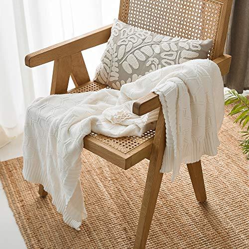 MYLUNE HOME Baumwolldecke Bio Baumwolle Strickdecke Sechseck Kuscheldecke 180x200cm Sofadecke Couchdecke (Weiß)