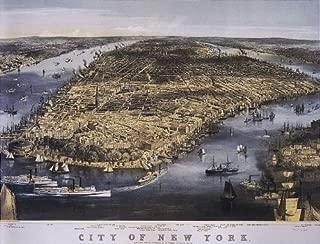 BIRD'S EYE VIEW CITY OF NEW YORK 1800 MANHATTAN HUDSON RIVER BOATS VINTAGE POSTER REPRO
