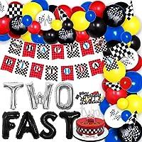 2歳誕生日飾り付け 男の子 カーズ 車 赤とブルー チェッカーフラッグ レース ガーランド 風船セット Happy Birthday バルーンアーチ ケーキトッパー