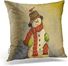 Emvency Throw Pillow Covers Fashion Popular Snowman Christmas Bird House Modern Pillowcases Polyester 16 X 16 Inch Square With Hidden Zipper Home Sofa Cushion Decorative Pillowcase