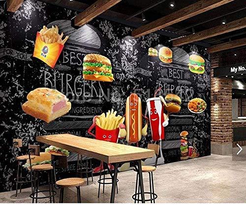 Murales Papel Pintado, Restaurante comida hamburguesas fritas Murales de Pared 3D Papel Tapiz Mural Papel Tapiz decoración del Hogar Sala de Estar Dormitorio Pintura de Pared 430x300cm