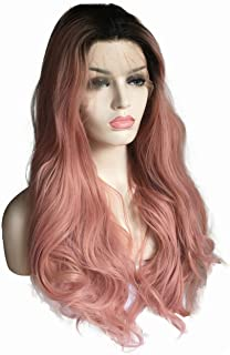 Rose Gold Wig Dark Root Synthetic Lace Front Wig For Women Wavy Hair 2 Tone Pink Color,Pink,24inches