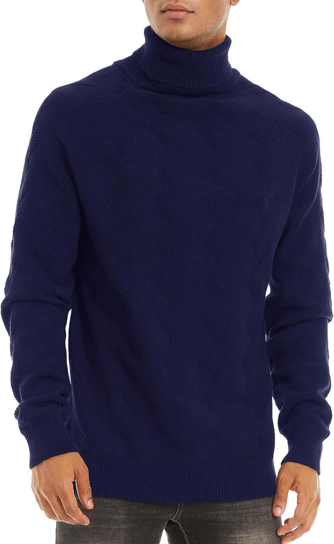 EKLENTSON Mens Sweater Winter Solid Basic Turtleneck Cotton Warm Knit Sweatshirt
