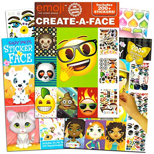 Bendon Publishing Make a Face Sticker Books for Girls Kids Toddlers -- Set of 3 Jumbo Books with Over 90 Faces and 750 Stickers (Sticker Face Activity Set)