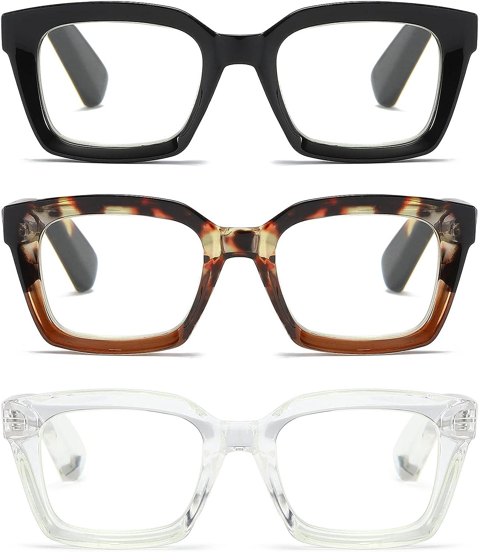 Max 74% OFF 3 Pack Oversize Square Design Reading Glasses Blue Women free Li for