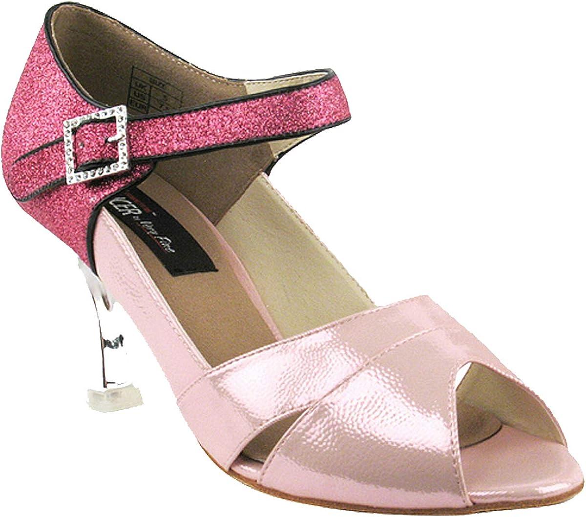 Very Fine Women's Salsa Ballroom Tango Dance Shoes Style CD3010 Bundle with Plastic Dance Shoe Heel Protectors, Pink Stardust 8 M US Heel 3 Inch