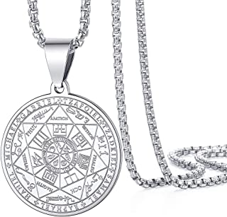 Amoued The Seal of The Seven Archangels Jewelry Necklaces, Stainless Steel Archangel Pendant Necklace for Men Women, Prote...