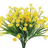 MIHOUNION Flores Falsas Artificiales, 4 pcs Faux narcisos Amarillos Arbustos Verdes Plantas arbustos de plástico Interior Exterior Colgando macetero Cementerio de la Boda decoración jarrones