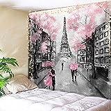 AMBZEK Eiffelturm-Wandteppich Paris Frankreich, 150 x 190 cm, Ölgemälde, europäische Stadt, rosa Baumliebhaber, Paar, romantische Vintage-Dekoration, Fantasie, Mode, Kunst, Wohnheim, Dekorstoff