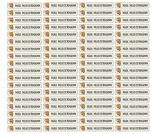Stifteaufkleber für Bleistifte, Kugelschreiber & weiteres Namensaufkleber Namen Sticker Aufkleber 49x7,5mm   72 Stück Kinder & Erwachsene Schule & Kindergarten 37 Hintergründe Tiger Löwe