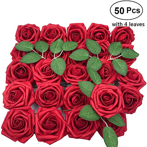 Lmeison Artificial Flowers 50pcs Real Looking Dark Red Fake Silk Roses W/stem with Leaves for DIY Wedding Bouquets Centerpieces Arrangements Party Baby Shower Cake Decor Home Decorations