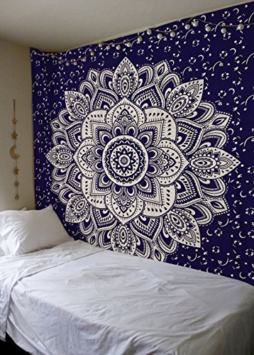 Labhanshi Exclusive Orignal Blue Silver Ombre Tapestry, Mandala Tapestry, Queen Indian Mandala Wall Art Hippie Wall Hanging Bohemian Bedspread