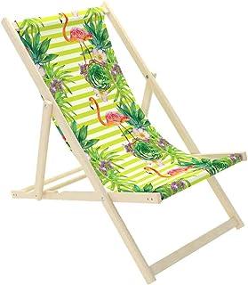Novamat – Tumbona de jardín de madera, plegable, tumbona para relajarse, silla para la playa, Hojas verdes.