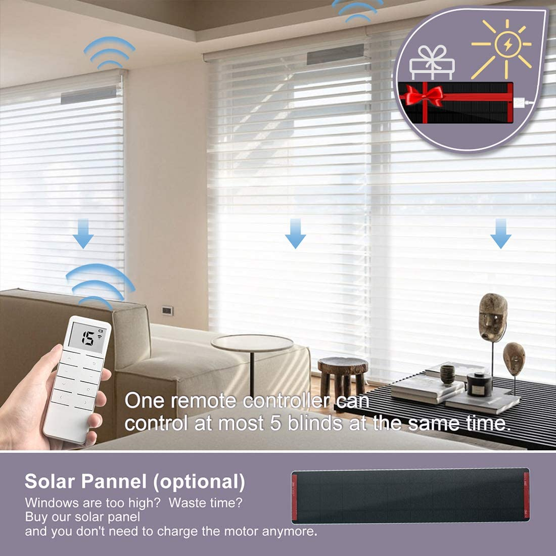 Graywind Motorized Shangrila Shades Remote Control Rechargeable Light Filtering Blinds Cordless Privacy with Valance for Smart Home and Office Customized Size Beige