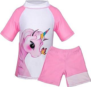 Toddler Girls Unicorn Short Sleeve Swimsuit Unicorn Kids Two Pieces Rash Guard Tankini Soft Swimwear