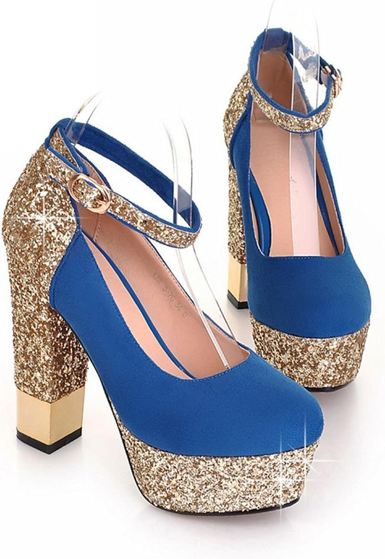 Kaloosh Women's Nubuck Leather Glitter Round Toe Block High Heel Buckle Strap Court shoes Sexy Pumps
