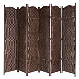 MyGift Freestanding Bamboo Woven Textured 6-Panel Room Divider Folding Privacy Screen, Dark Brown