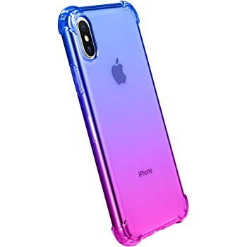 """iPhone Xs Case,iPhone X Case,CLONG iPhone X/Xs Colorful Clear Shockproof Protective Cover Transparent Soft TPU Gel Cases for Apple iPhone X/Xs 5.8""""- Blue&Purple"""