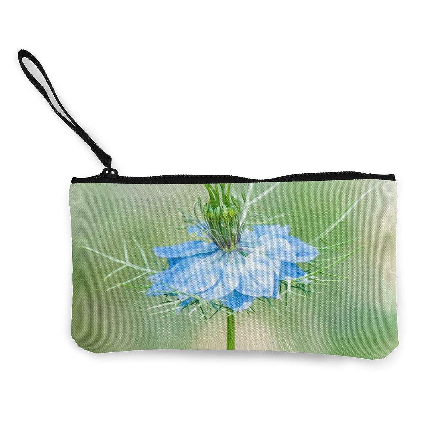 指定伝統的優先ErmiCo レディース 小銭入れ キャンバス財布 ニゲラの花 小遣い財布 財布 鍵 小物 充電器 収納 長財布 ファスナー付き 22×12cm
