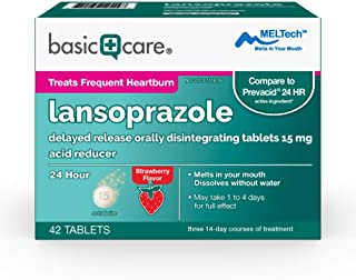 Basic Care Lansoprazole Delayed Release Orally Disintegrating Tablets 15 mg, Strawberry Flavor, 42 Count