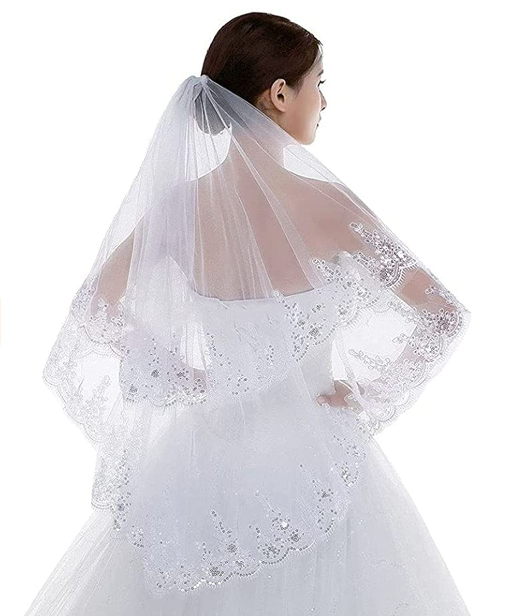 Brinote Sequins Lace Edge Wedding Veil for Brides 2-Tier Short Veil Hip Length Bridal Veils with Comb Sparkle Soft Tulle Hair Accessories for Bride (White)