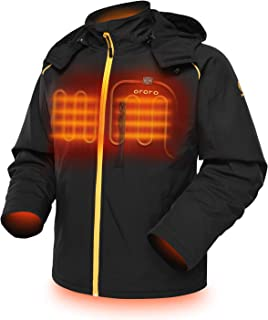 ORORO Men's Soft Shell Heated Jacket with Detachable Hood and Battery Pack