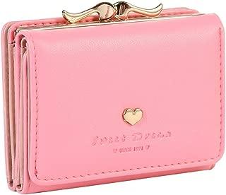 The Orient Bee Women Mini Leather Wallet Girl Purse Teen Card Holder Orgnizer Super Cute Kiss Lock Closure