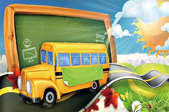 Zhy Back to School Backdrop Homecoming Day Party Decoration 7X5ft Vinyl School Bus Open Day Party Supplies Photography Backdrops