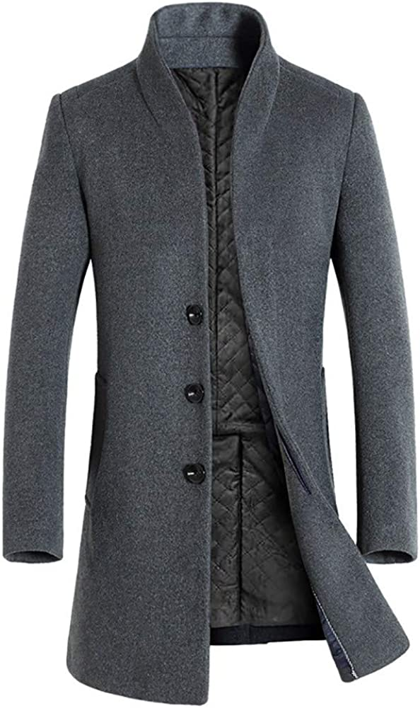 Men Stand Collar Warm Winter Trench Button Long Smart Overcoat
