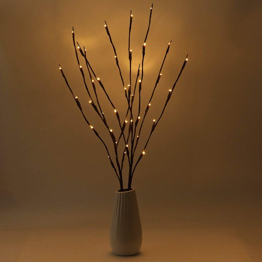 BLOOMWIN 2pcs luces LED blanco cálido ramas forma de árbol 20 LED ...