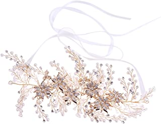 MagiDeal Bridal Pearl Headpiece Crystal Rhinestone Wedding Hair Headdress Hair Band